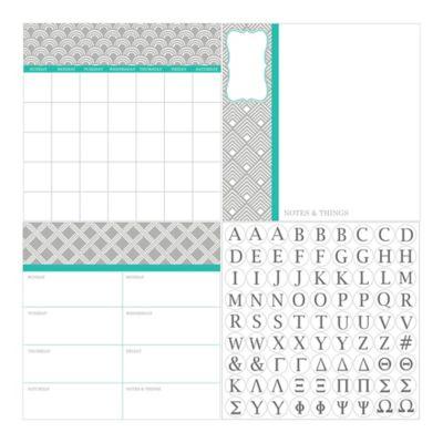 Dry-Erase 3-Piece Preppy Monogram Calendar/Weekly Planner/Notes Board Set in Grey/Aqua