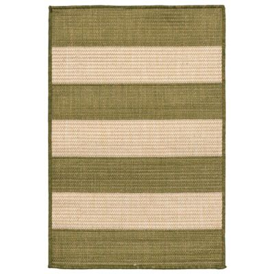 Liora Manne Terrace Rugby Stripe 1-Foot 11-Inch x 2-Foot 11-Inch Rug in Green