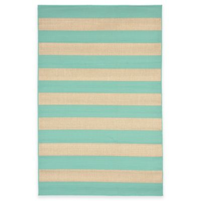 Liora Manne Terrace Rugby Stripe 7-Foot 10-Inch Square Rug in Marine