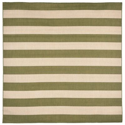 Liora Manne Terrace Rugby Stripe 7-Foot 10-Inch Square Rug in Green
