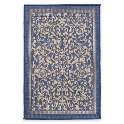 Liorra Manne Terrace Scroll Vine 1-Foot 11-Inch x 2-Foot 11-Inch Indoor/Outdoor Rug in Marine