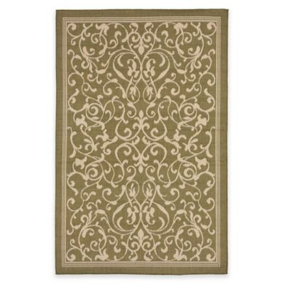 Liorra Manne Terrace Scroll Vine 7-Foot 10-Inch Round Indoor/Outdoor Rug in Green