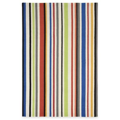 Trans-Ocean Capri Bold Stripe Bright 5-Foot x 5-Foot Multicolor Indoor/Outdoor Area Rug