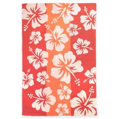 Trans-Ocean Capri Hibiscus Cool 5-Foot x 7-Foot Area Rug in Orange