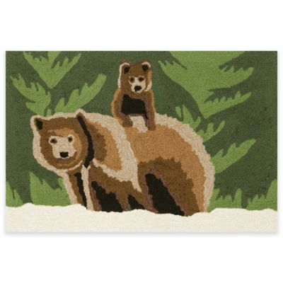 Trans-Ocean Bear Family Forest 1-Foot 7-Inch x 2-Foot 4-Inch Indoor/Outdoor Accent Rug