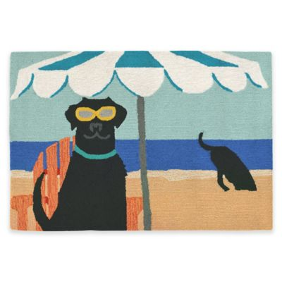 Trans-Ocean Front Porch Dig in the Beach Ocean 1-Foot 7-Inch x 2-Foot 5-Inch Indoor/Outdoor Rug