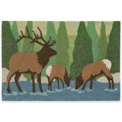 Trans-Ocean Front Porch Elk Forest 1-Foot 7-Inch x 2-Foot 5-Inch Indoor/Outdoor Rug