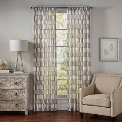 SolarShield® Brionna 63-Inch Rod Pocket UV Filtering Sheer Window Curtain Panel in Latte