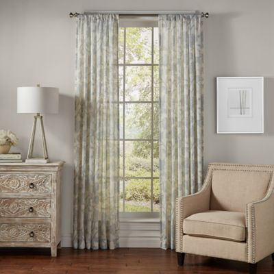 SolarShield® Bellona 63-Inch Rod Pocket UV Filtering Sheer Window Curtain Panel in Ash Blue