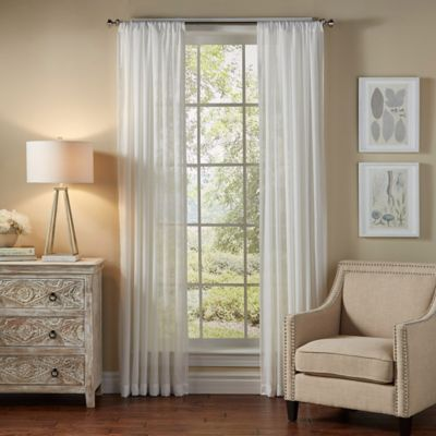 SolarShield Borinda 63-Inch Rod Pocket UV Filtering Sheer Window Curtain Panel in Ash Blue