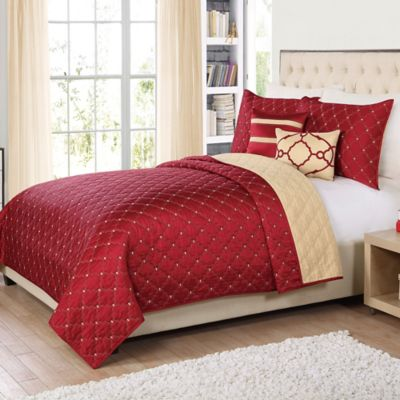 Lattice 5-Piece Reversible Twin Quilt Set in Red
