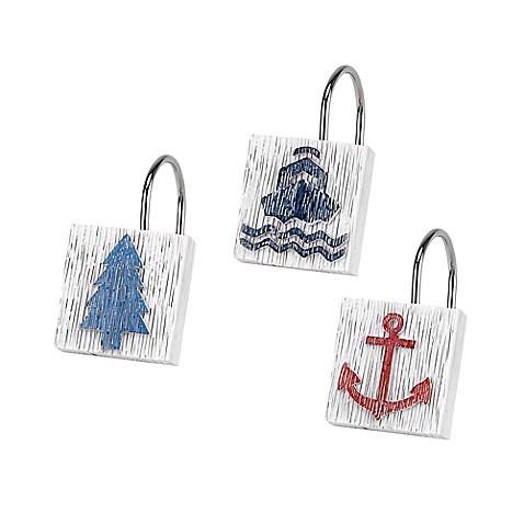 Avanti Lake Words Shower Curtain Hooks Set Of 12