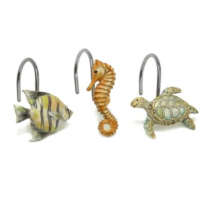 Bacova Chevron Beach Shower Curtain Hooks (Set of 12)