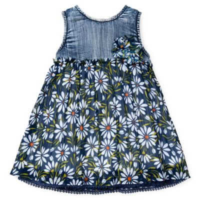Guess® Size 0-3M Sleeveless Floral Chiffon Dress with Denim Bodice in Blue/White