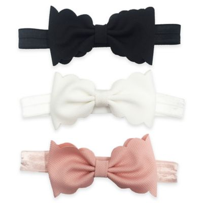 3-Pack Infant Scallop Bow Headbands in Pink/White/Black