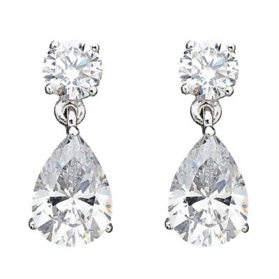 CRISLU Platinum-Plated Sterling Silver Cubic Zirconia Classic Pear-Shaped Drop Earrings