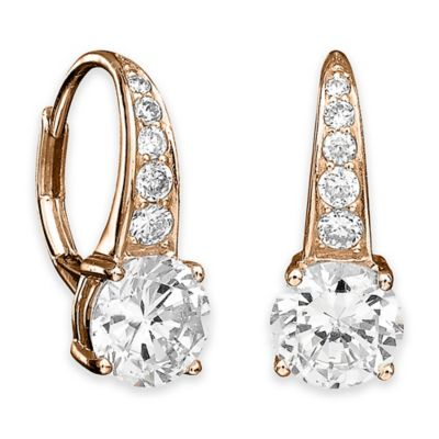 CRISLU 18K Rose Gold-Plated Sterling Silver Cubic Zirconia Round Drop Earrings