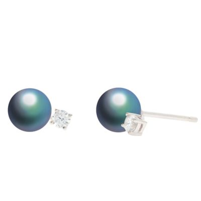 CRISLU Platinum-Plated Sterling Silver Cubic Zirconia-Accented Black Freshwater Pearl Stud Earrings