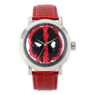 Marvel® Deadpool Men's 44mm Mask Vintage Watch in Silvertone with Red Leather Strap