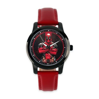 Marvel® Deadpool Men's 38mm Character Watch in Black Alloy w/Red Leather Strap