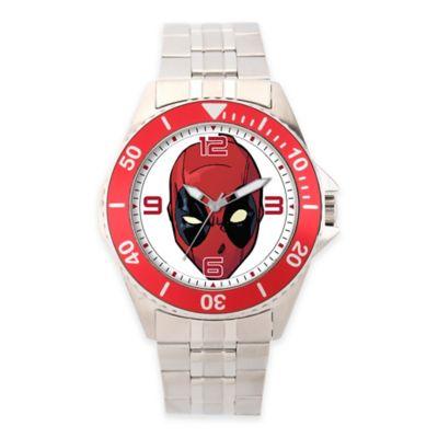Marvel® Deadpool Men's 46mm Red Bezel Honor Watch in Stainless Steel