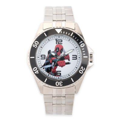 Marvel® Deadpool Men's 46mm White Dial and Black Bezel Honor Watch in Stainless Steel