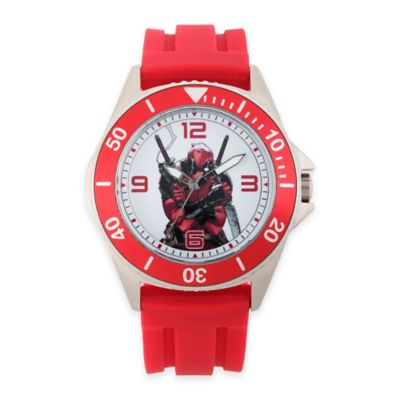 Marvel® Deadpool Men's 46mm Red Bezel Honor Watch in Stainless Steel w/Red Rubber Band