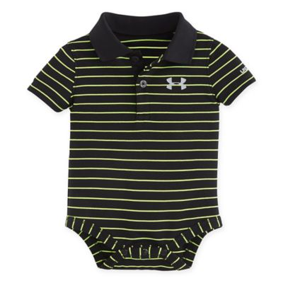 Under Armour® Size 0-3M Striped Polo Bodysuit in Black/Yellow