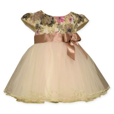 Bonnie Baby Size 12M Ballerina Dress with Floral Lace Top and Tulle Skirt in Ivory