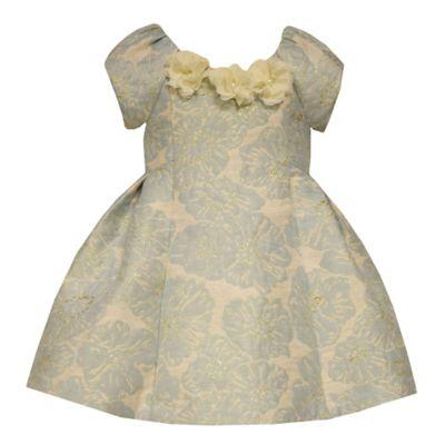 Bonnie Baby Size 12M Brocade Print Short Sleeve Dress in Mint/Cream