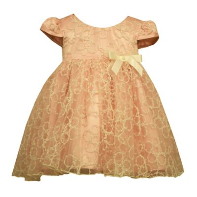 Bonnie Baby Size 12M Embroidered Organza Dress with Bow in Peach
