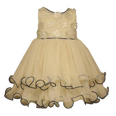 Bonnie Baby Size 12M Appliqued Bodice Sleeveless Ballerina Dress in Ivory/Black
