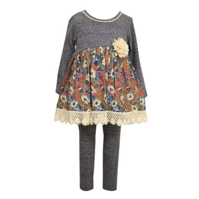 Bonnie Baby Size 0-3M 2-Piece Solid/Floral Tunic and Legging Set in Heather Grey/Red