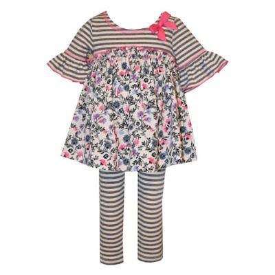 Bonnie Baby Size 0-3M 2-Piece Stripe/Floral Tunic and Legging Set
