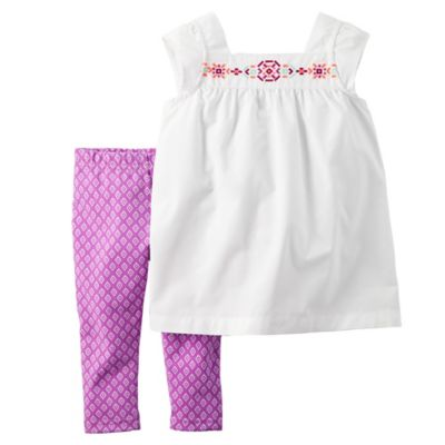 carter's Size 6M 2-Piece Embroidered Top and Print Capri Set in White/Purple