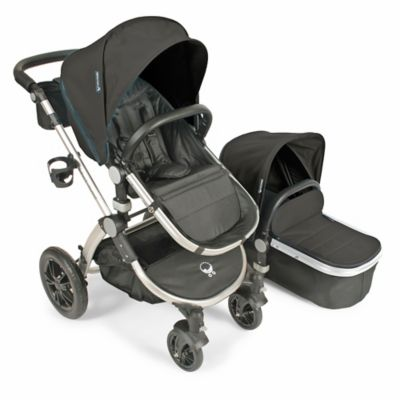 babyroues® Letour Avant Bassinet and Stroller Silver Frame System in Black