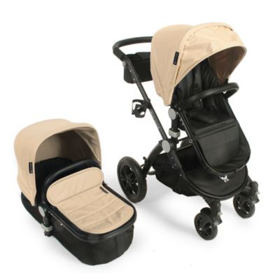 babyroues® Letour Avant Bassinet and Stroller Black Frame System in Tan