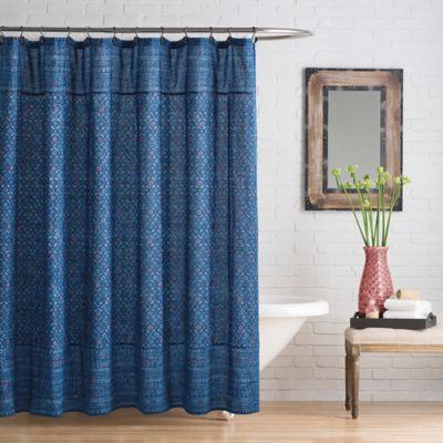 Happy Indigo Shower Curtain