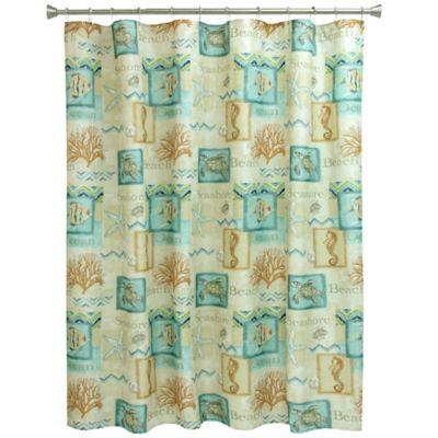 Bacova Chevron Beach Shower Curtain in Blue/Coral