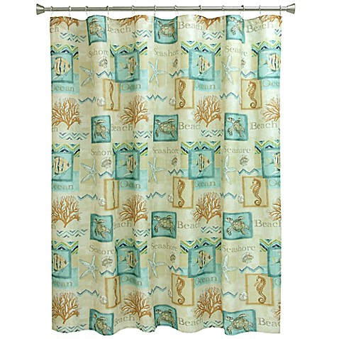 Buy Bacova Chevron Beach Shower Curtain In Blue Coral From Bed Bath Beyond