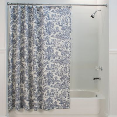 Victoria Park Toile Shower Curtain in Blue