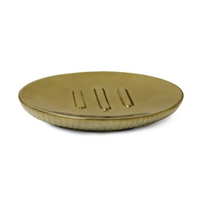 Hammered Ceramic Soap Dish in Gold