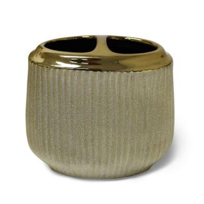 Hammered Ceramic Toothbrush Holder in Gold