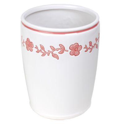 Coral Ceramic Wastebasket