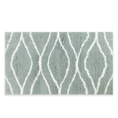 Grand Luxe 21-Inch x 34-Inch Bath Rug in Seaglass/White