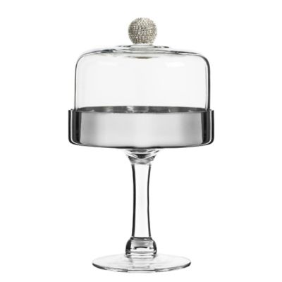 Fitz and Floyd® Medley Pedestal Cake Plate with Dome in SIlver