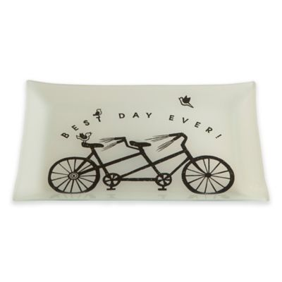 """TAG """"Best Day Ever!"""" Rectangular Tray in Ivory/Black"""
