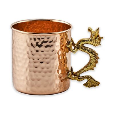 Old Dutch International Solid Copper Dragon Handle Hammered Straight Sided Mugs (Set of 4)