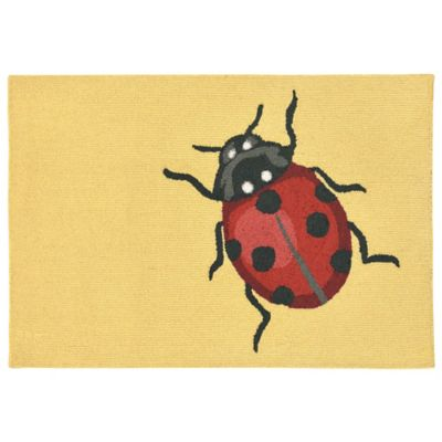 Trans-Ocean Front Porch Ladybug Yellow 1-Foot 7-Inch x 2-Foot 5-Inch Indoor/Outdoor Rug