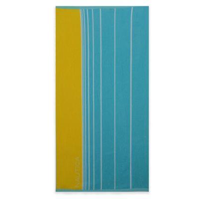 Nautica® Faded Stripe Beach Towel in Marigold/Turquoise